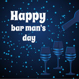 Vector threeglasses on blue background. Card bartenders Day. Vector three glasses on blue background stock illustration
