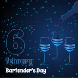 Vector threeglasses on blue background. Card bartenders Day. Vector three glasses on blue background vector illustration