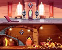 Vector ballroom with cellar, king with gold. Vector throne room with hatch to vault. Cellar with king on pile of gold, coffers. Background with guards, castle royalty free illustration