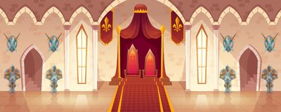 Vector throne room in medieval palace, castle hall. Vector throne room in medieval palace for ceremonies and royal receptions, castle hall, ballroom for dancing royalty free illustration