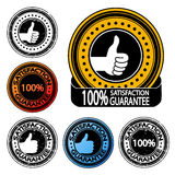 vector thumb up satisfaction guarantee label Stock Image