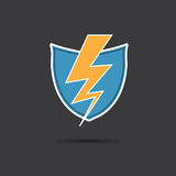 Vector of thunder lighting with shield. Stock Photo