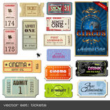 Vector tickets. Vector set of tickets in different styles Royalty Free Stock Photography