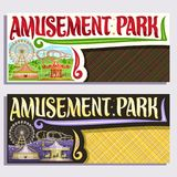 Vector tickets for Amusement Park. With copy space, cartoon ferris wheel, roller coaster, vintage merry go round carrousel with horses, circus big top, original Royalty Free Stock Photos