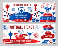 Vector tickets of football soccer cup championship. Soccer cup championship tickets design template for international football cup tournament. Vector admit Royalty Free Stock Photos