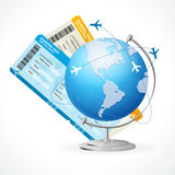 Vector tickets and globe, travel concept Stock Image