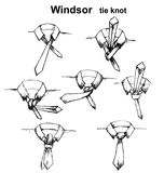 Vector tie and knot instruction Royalty Free Stock Photos