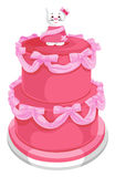 Vector of tiered cake with cat on top. Stock Photos