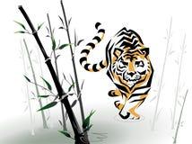 Vector tiger in bamboo Stock Photos