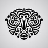 Vector tiger face tattoo sketch. Polynesian tattoo style Royalty Free Stock Photos
