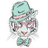 Vector tiger wearing glasses and a hat. Hipster. Royalty Free Stock Photos