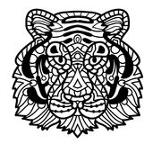 Vector Tiger. Zentangle Tiger face illustration, Tiger head. Print for adult anti stress coloring page. Hand drawn artistically ornamental patterned decorative Stock Photos
