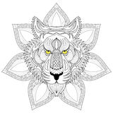 Vector Tiger. Zentangle Tiger face on mandala illustration, Tige Royalty Free Stock Photos