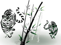 Vector tigers in bamboo Royalty Free Stock Photos