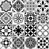 Vector tile pattern, Lisbon floral mosaic, Mediterranean seamless black and white ornament Stock Photos