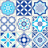 Vector tiles blue pattern, Lisbon floral mosaic, Mediterranean seamless ornament - Azulejos Stock Photo