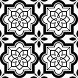 Vector tiles pattern, Lisbon floral mosaic set, Mediterranean seamless black and white ornament Royalty Free Stock Image