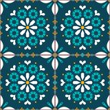 Vector tiles seamless pattern inspired by Portuguese art, Lisbon Azulejo style tile background. Ornamental textile background inspired by Spanish and Portuguese stock illustration