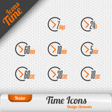 Vector Time Icons. Dark green background with green button. Design elements Royalty Free Stock Images