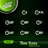 Vector Time Icons. Dark green background with green button. Design elements Royalty Free Stock Image