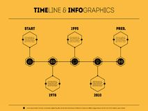 Vector time line with 5 steps. Timeline infographic with icons a Royalty Free Stock Images