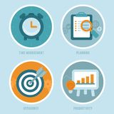 Vector time management concepts in flat style Stock Photos