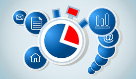 Vector time work concept - time management. Royalty Free Stock Photos
