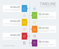 Vector timeline info graphic with line icons Royalty Free Stock Image