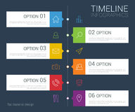 Vector timeline info graphic with line icons Stock Images