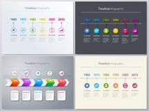 Free Vector Timeline Info Graphic Set With Diagrams. 4 Different Versions Royalty Free Stock Photos - 78168058