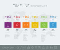 Vector timeline info graphic with world map Royalty Free Stock Photos