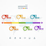 Vector Timeline Infographic. Map and clock Stock Photo