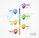 Vector Timeline Infographic. Map and pin Royalty Free Stock Photography