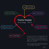 Vector timeline template with heart Stock Images
