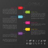 Vector timeline template with icons and black back. Ground illustration Royalty Free Stock Images