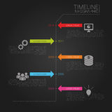 Vector timeline template with icons and black back. Ground. Illustration Stock Photos