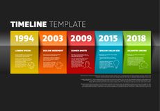 Vector timeline template. Made from colorful papers on dark background Stock Illustration