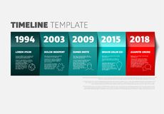 Vector timeline template. Made from colorful teal and red papers - light version Royalty Free Illustration