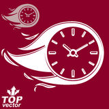 Vector timer with burning flame, includes additional version. Time i. S running out concept, eps8 clear vector illustration. Deadline theme stylized illustration Royalty Free Stock Photo