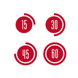 Vector timer icon. Vector minute timer icon set Stock Photography