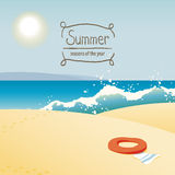 Vector times of year. Vector illustration of the seasons, summer at the beach Stock Photos