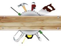 Vector Timmerwerk, hulpmiddelencollage met houten plank te Royalty-vrije Stock Foto's