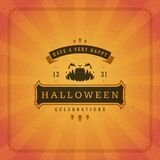 Vector tipográfico del diseño de la tarjeta de felicitación de Halloween Fotografía de archivo libre de regalías