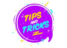 Vector Tips and Tricks Cartoon Icon. Isolated on White. Ultraviolet Rounded Conversation Bubble with Geometric Elements. Useful Lifehack Badge. Helpful Facts Royalty Free Stock Images