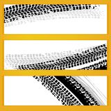 Vector tire banners. Vector automotive banners template. Grunge tire tracks backgrounds for horizontal poster, digital banner, flyer, booklet, brochure and web vector illustration