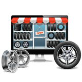 Vector Tire Shop Concept Stock Image