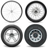 Vector Tires for Bicycle Motorcycle Car and Truck Royalty Free Stock Photo