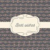 Vector tmplate für Grußkarte, Hochzeitseinladung oder Menü Beste Wünsche - Zitat Hand gezeichnetes Muster Stockfotografie