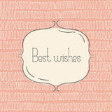 Vector tmplate for greeting card, wedding invitation or menu. Best wishes - quote. Vintage design Stock Photos
