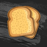 Vector toast isolated on black chalk board. bread illustration. Realistic slice . breakfast concept. icon . Stock Image